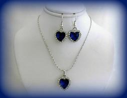 HEART OF THE OCEAN BLUE CRYSTAL TITANIC NECKLACE AND EARRING