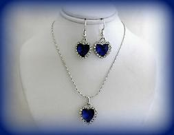VALENTINES DAY GIFT SET FOR HER~BLUE CRYSTAL HEART SILVER NE