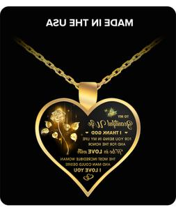 Heart Pendant for Her - To My Wife Necklace - From Husband -