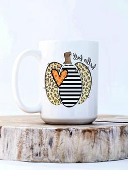 Hello Fall 15 Ounce Coffee Mug Leopard Print Pumpkin Coffee