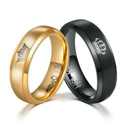 Her King&His Queen Crown Couple Rings Stainless Steel Weddin