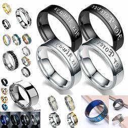 His Always/Her Forever Couple Ring Titanium Steel Wedding En