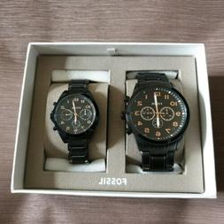 Fossil His and Her Chronograph Black Stainless Steel Watch G