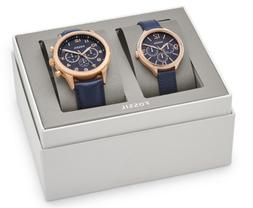 HIS CHRONOGRAPH AND HER MULTIFUNCTION NAVY LEATHER WATCH GIF