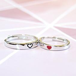 His / Her Matching Red / Black Heart Adjustable Couple Rings