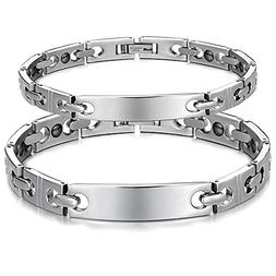 His or Hers Matching Set Couple Titanium Magnetic Bracelet A