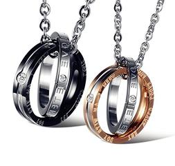 His & Hers Matching Set Titanium Stainless Steel Couple Pend