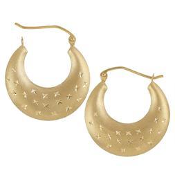 Hoop Earrings star Diamond Cut 14K Real Yellow Gold Unique G