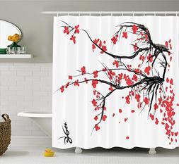 Ambesonne Nature Shower Curtain, Sakura Blossom Japanese Che