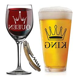 King Queen Glasses - with FREE Bottle Opener - Funny Wedding