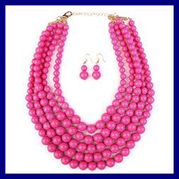 KPA Fashion Women's Popular Bubble Strand Necklace Set For H