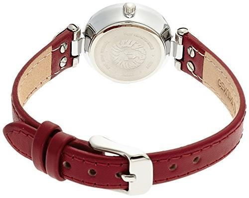Anne Silver-Tone White and Red Watch