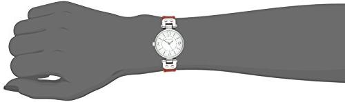 Silver-Tone White Dial and Red Strap