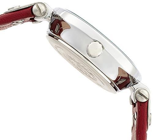 Anne Klein Silver-Tone White Red Leather Strap