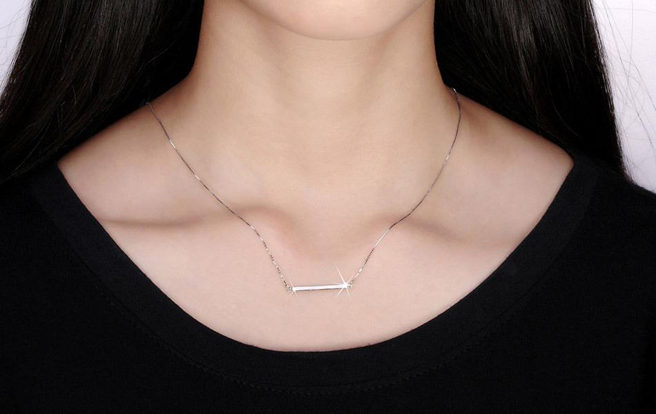 925 Sterling Horizontal Bar Necklace Charm Pendant Gift For