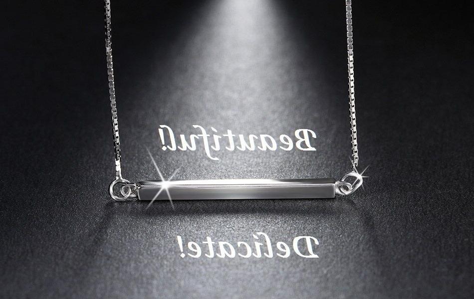 925 sterling silver horizontal bar necklace sideways