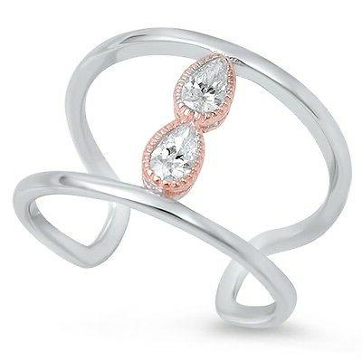 925 sterling silver rose gold accent clear