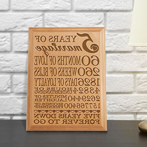 5th Wedding Anniversary Gift Ideas For Husband: 5th Anniversary Engraved Natural Wood