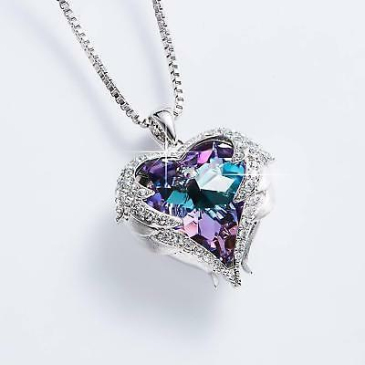 Angel Necklace Heart Crystals For Her Gift