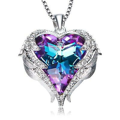 angel wings pendant necklace heart love crystals