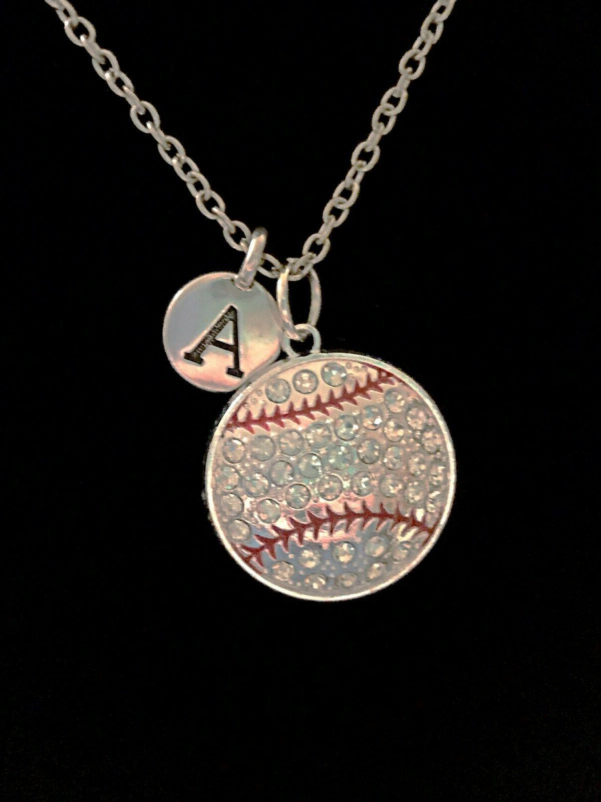 baseball necklace softball initial mom mother sports