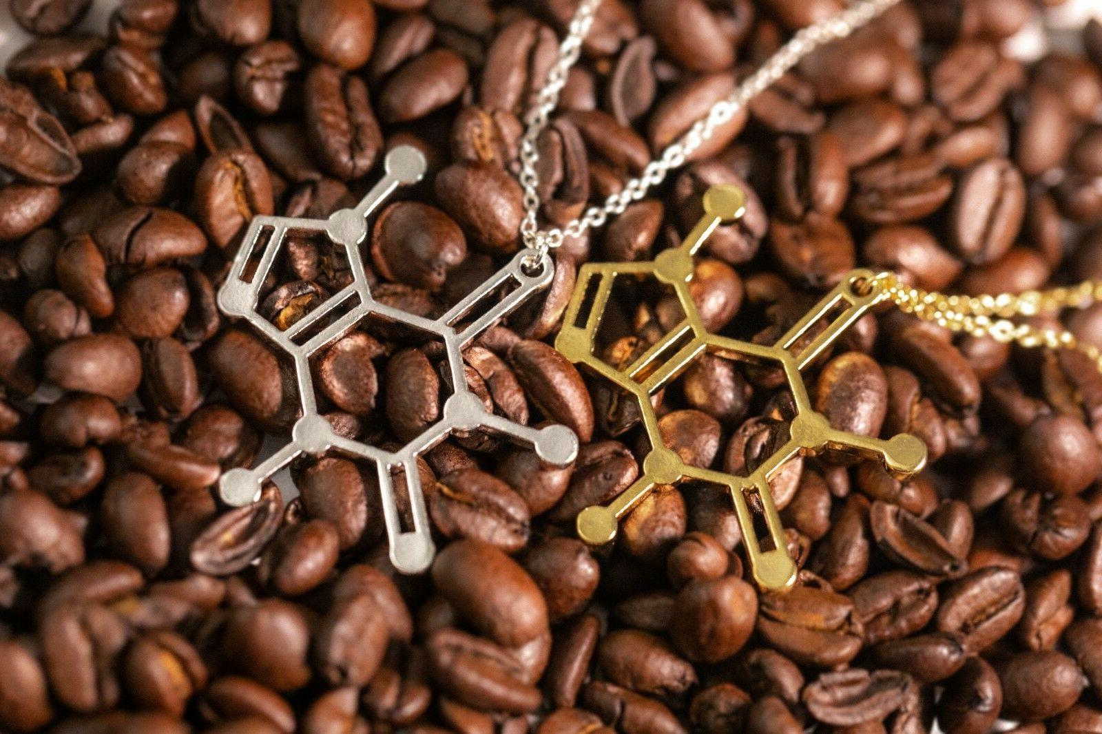 caffeine molecule pendant necklace gift for her
