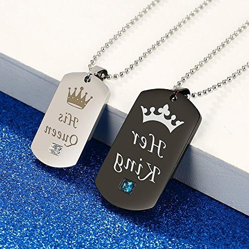 Gagafeel Tag Queen His Hers Titanium Steel Pendant Matching Set Gift