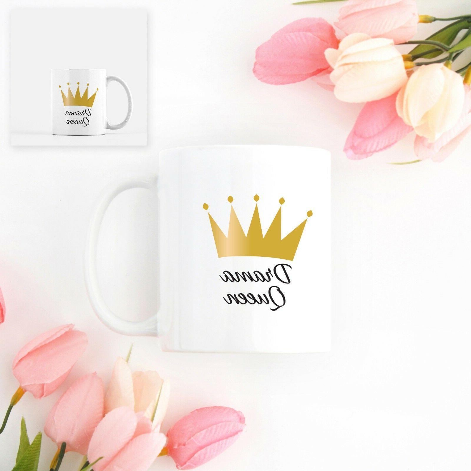 Crown Drama Queen White Ceramic gift idea and friend