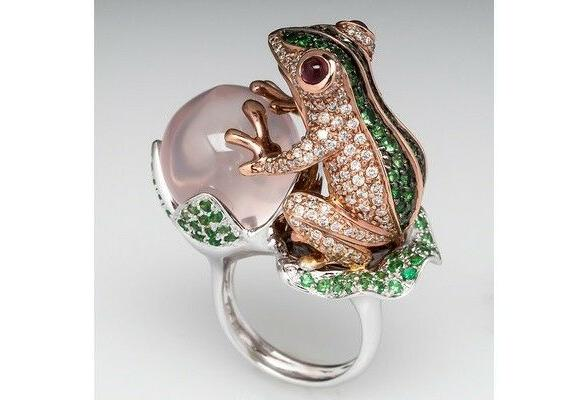 frog animal ring pearl jewelry unique gift
