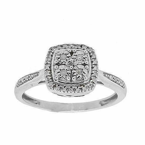 genuine white diamond ring in 925 sterling