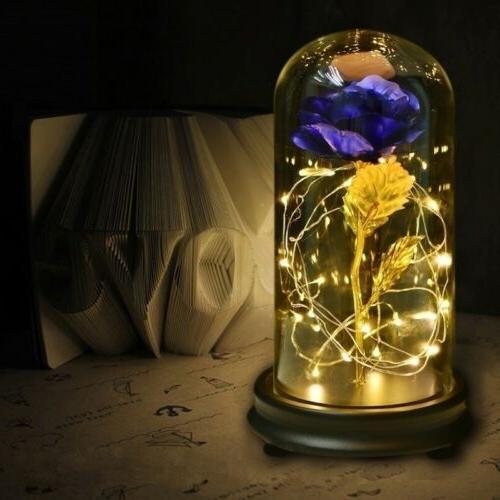 WR Gold Glass Lamp LED Golden Flower For