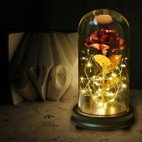 WR Rose Glass Golden Flower For Her