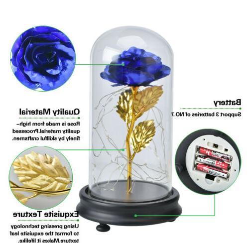 WR Gold Plated Rose Glass Lamp Golden Flower Christmas For