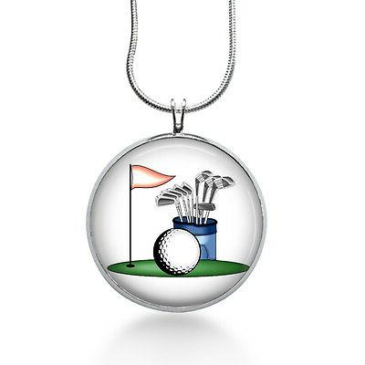 golf pendant necklace sports jewelry for her
