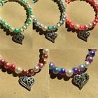 Heart charm pearl bracelet, Women's bracelet, Jewelry for he