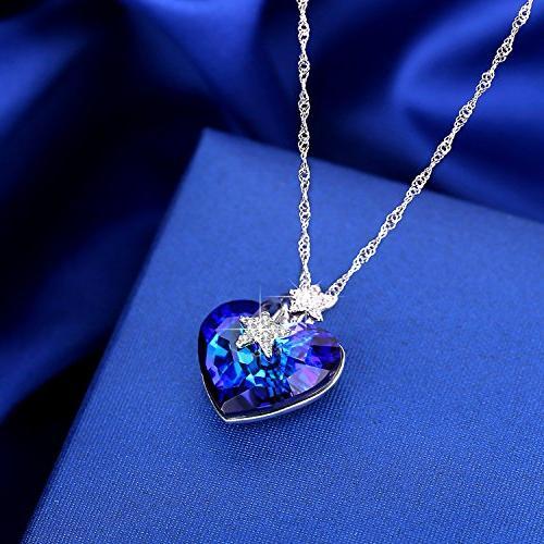 ANCREU Ocean Necklace Love Pendant Necklaces Women Swarovski