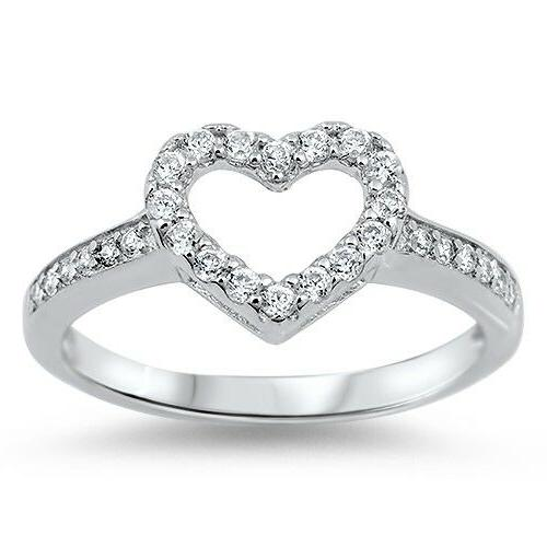 FOR HER WHITE CZ HEART PROMISE LOVE RING .925 Sterling Silve