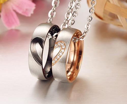 SunnyHouse His Hers Set Titanium Stainless Steel Heart Necklace in