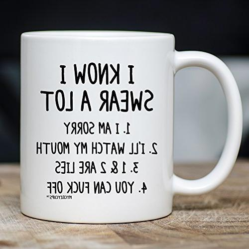 MyCozyCups Swear Mug Quote Saying Ceramic For Friend, Birthday, Christmas, - Mug