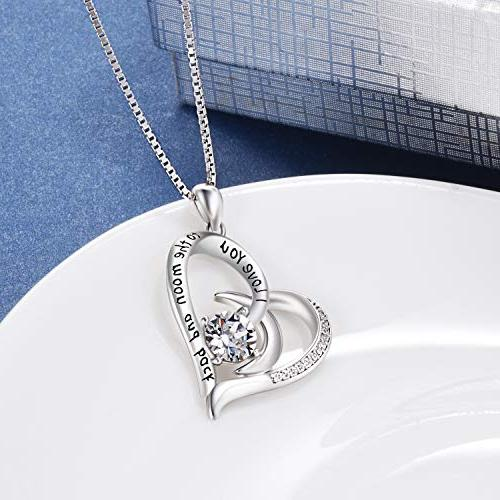 AOBOCO Love to Moon Back Sterling Silver Heart Necklace - for