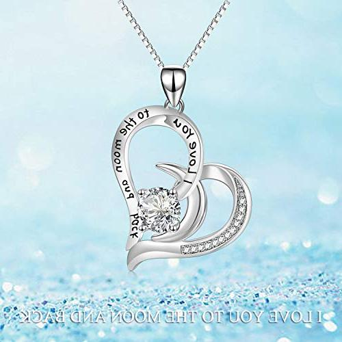 AOBOCO I Back Moon Sterling Silver Heart Necklace Swarovski - for Her