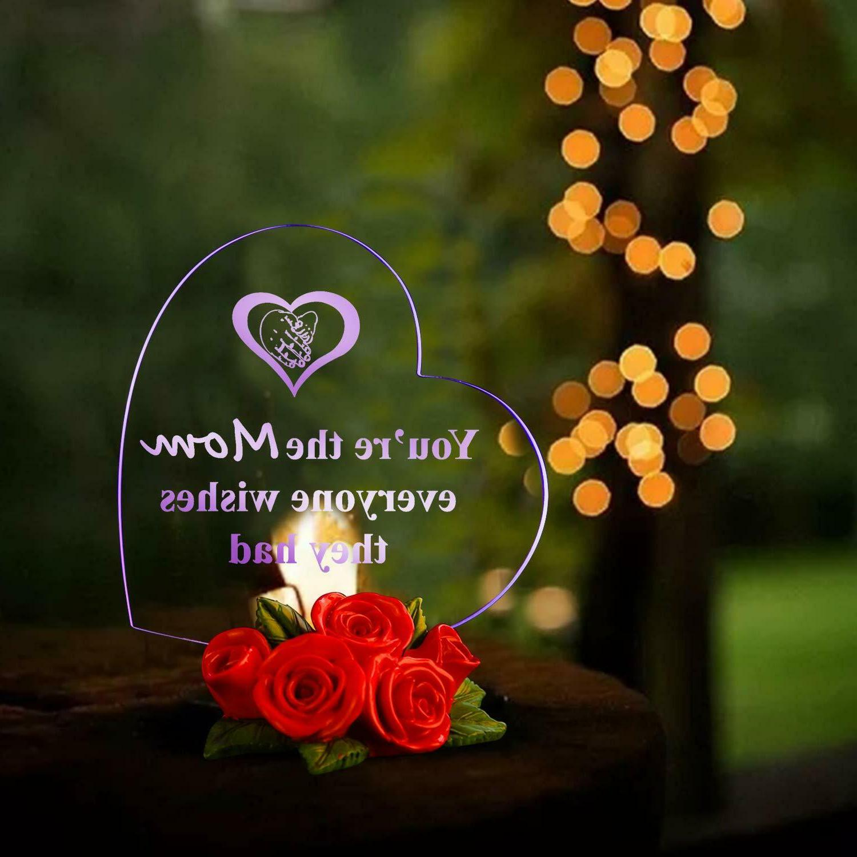 LED Heart Rose Base Mothers Gift