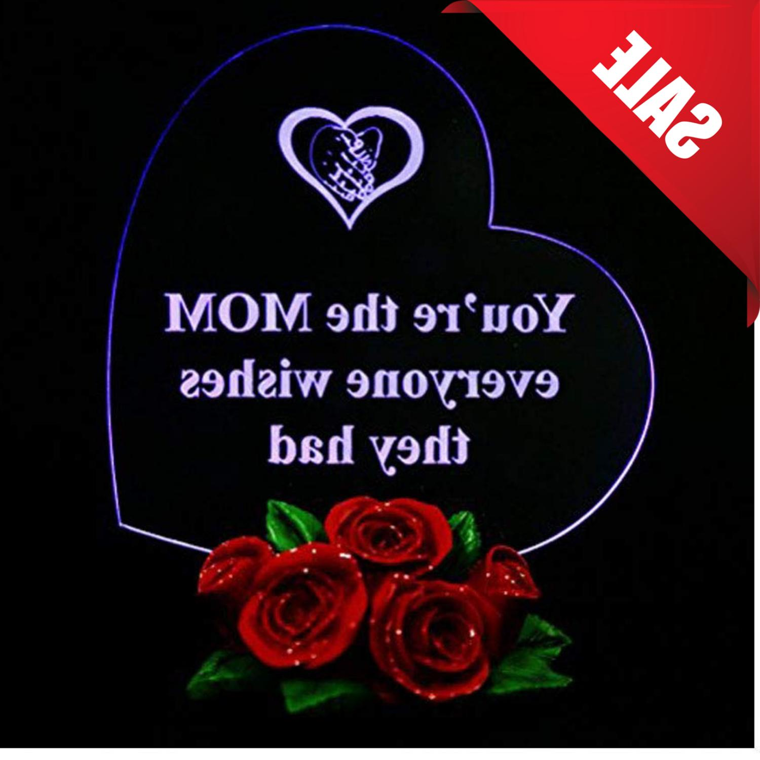 LED Light Heart Shaped Rose Base Mothers Day Gift For Her Mo