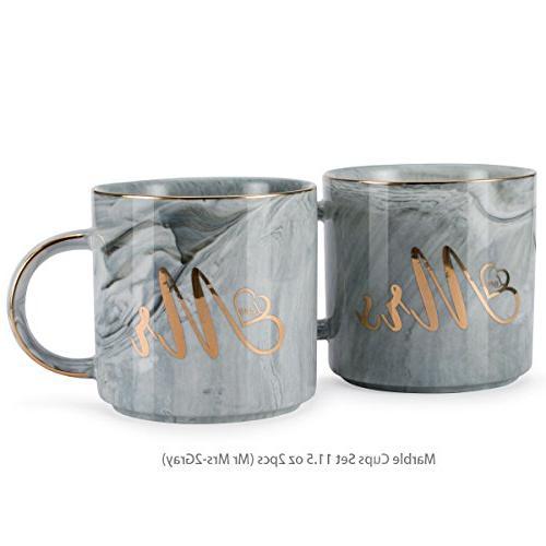 BDQFEI marble-pattern gold-edged couple mug/ceramic gift box