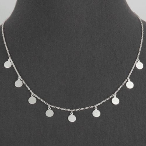 matte silver multi disc coin charm necklace