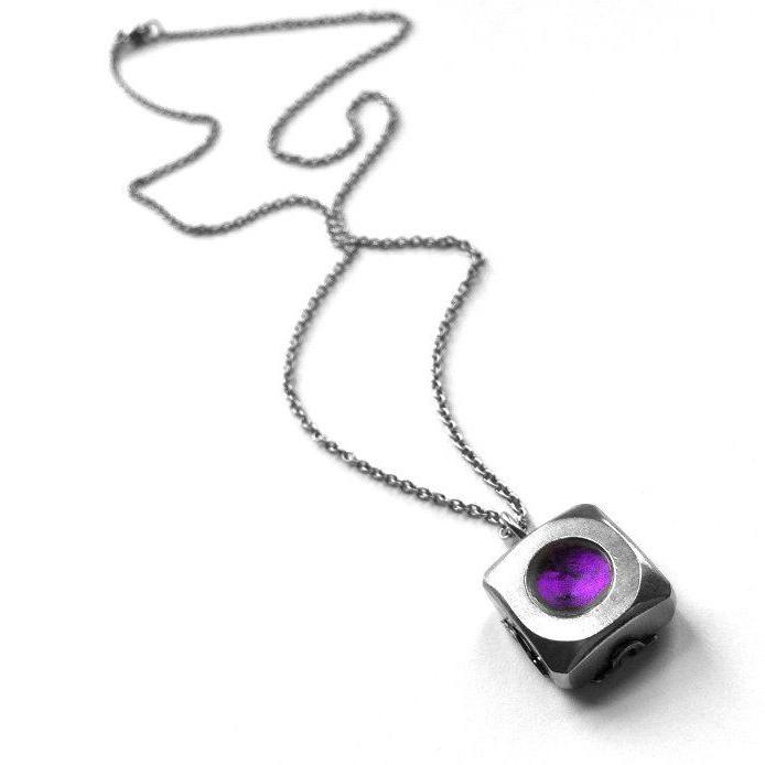 Modern Silver Stainless Steel Square Pendant Necklace Dark P