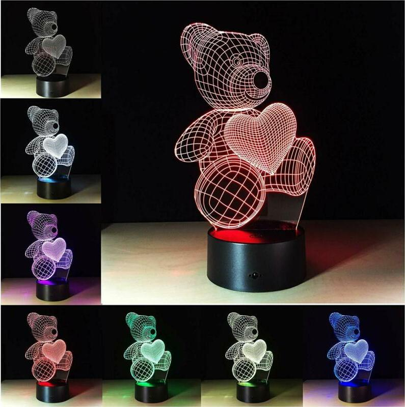 Mothers Day Mom 3D Touch Light Teddy