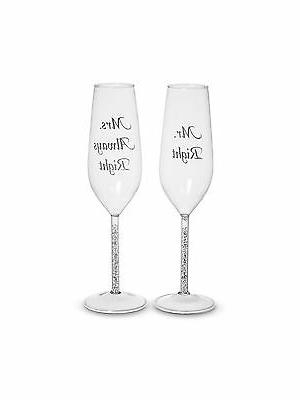 mr and mrs right toasting flutes clear