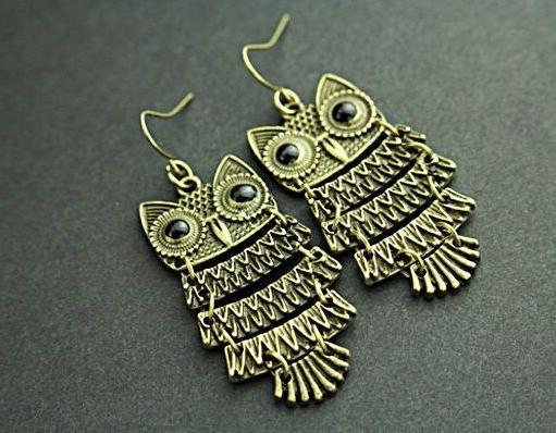 Owl Jewelry Earrings Retro Vintage Style Drop Dangle Charm B