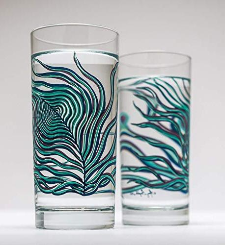 Peacock Feather Glasses, for Everyday Drinking Glasses